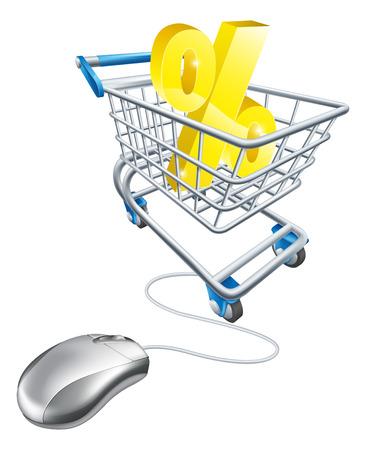 inflation basket: Muestra de porcentaje en un carrito de la compra con el rat�n de la computadora conectada a la misma. Concepto para la compra de mejores tarifas por ciento en el Internet para el ahorro o tarjeta de cr�dito o s�lo gangas