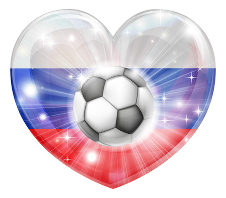 socer: Russia soccer football ball flag love heart concept with the Russian flag in a heart shape and a soccer ball flying out
