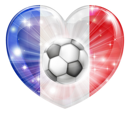 socer: France soccer football ball flag love heart concept with the French flag in a heart shape and a soccer ball flying out