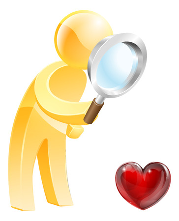 Looking for love concept of a person looking at a heart shaped symbol with a magnifying glass Vector