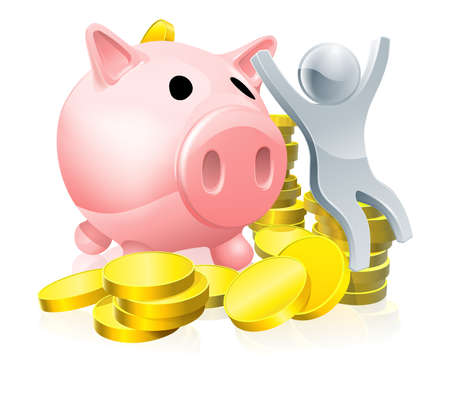 A happy piggy bank man conceptual illustration with mascot person sitting with money and piggy bank with arms raised Vector