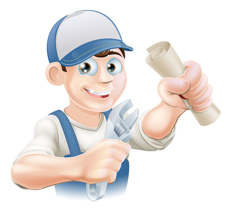 qualification: Plumber or mechanic with certificate, qualification or other scroll and wrench.  Illustration
