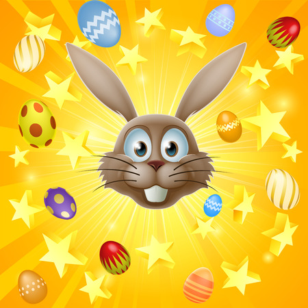 rabit: Easter bunny concept with happy Easter bunny face and stars and chocolate Easter eggs