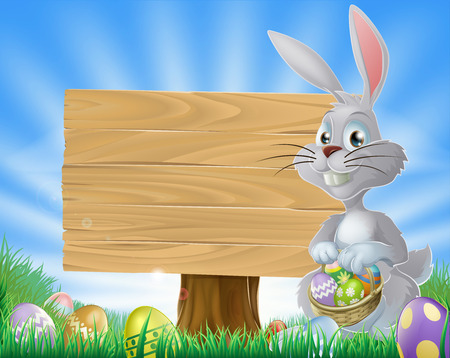 hunts: Bunny rabbit with a basket of Easter eggs and a wooden sign  Illustration