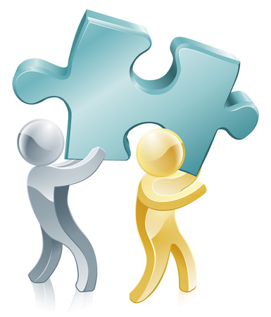 organise: Illustration of two people people holding a big jigsaw piece