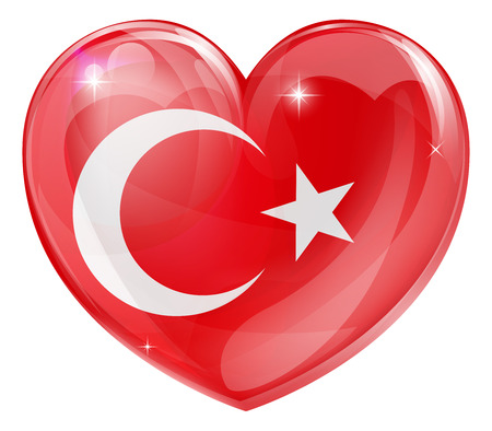 turkish flag: Turkey flag love heart concept with the Turkish flag in a heart shape