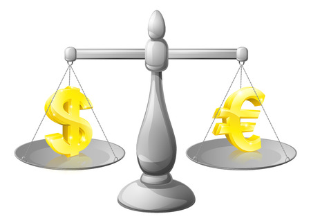 liquidity: Scales currency concept, foreign exchange forex concept, dollar and Euro signs on scales being weighed against each other