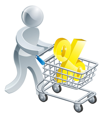 A person pushing a shopping cart or trolley with a large percent sign in it Vector
