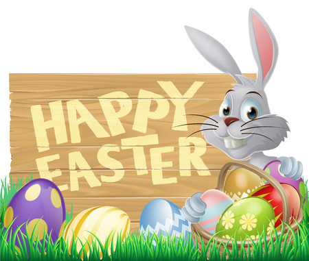 Happy Easter sign with Easter bunny rabbit and Easter eggs Vector