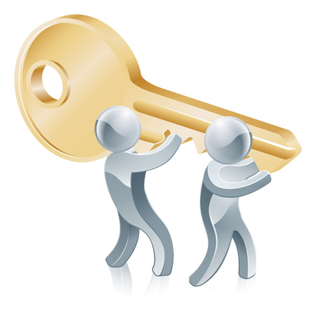 key to success: Jigsaw piece gold people illustration of two gold people mascots holding a giant key Illustration