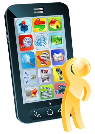 Which app concept, a person looking up at a mobile phone screen with lots of app icons on it. Maybe considering which app to buy. Vector