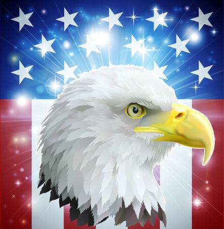 愛国心: イーグル アメリカの愛の心のコンセプトとアメリカの白頭鷲はアメリカの国旗の前でスタイルのバナー