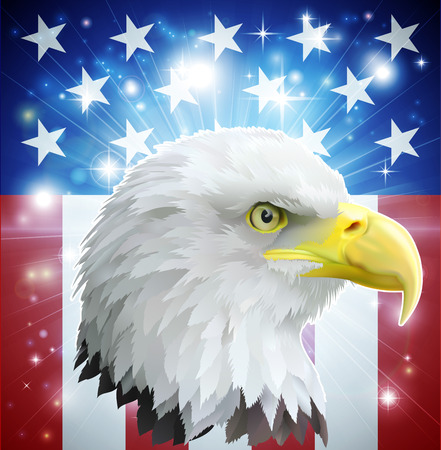 Eagle America love heart concept with and American bald eagle in front of the American flag style banner