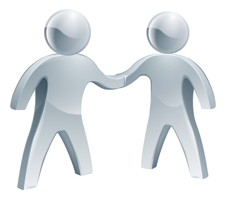 A pair of shaking hands silver people, business concept Vector