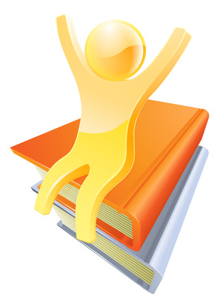 Giant book education concept of human figure sat on a pile of books with hands happily raised Vector