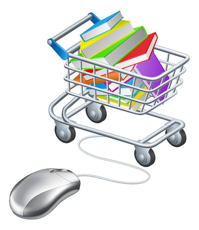 book shop: Books in a shopping trolley or cart connected to computer mouse, concept for online education or shopping for books on the internet