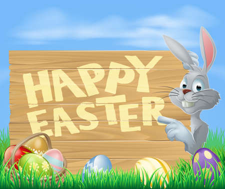 White Easter rabbit bunny pointing at a Happy Easter sign, chocolate decorated Easter eggs and basket in front  Vector