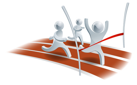 Winning the race concept, person about to win a footrace with hands raised in joy Vector