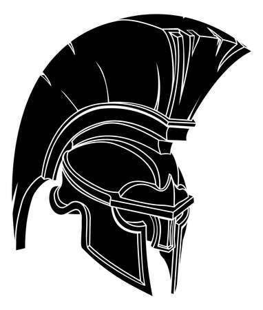 the romans: An illustration of a spartan or trojan warrior or gladiator helmet
