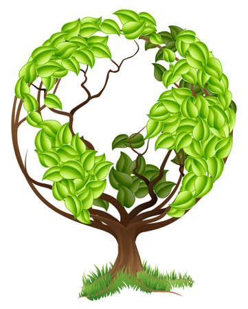 environmental awareness: Green tree globe earth world conceptual illustration of a tree growing in the shape of a globe Illustration