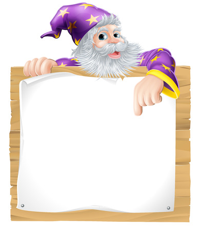 Wizard character with beard pointing pointing at a scroll sign background Vector
