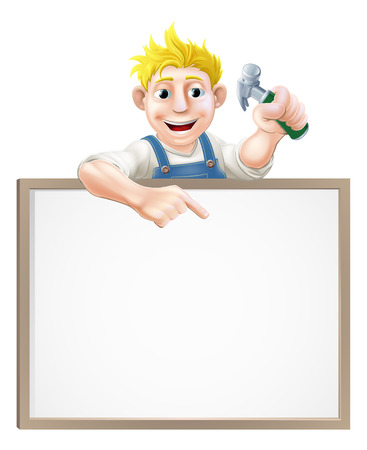 A carpenter or builder holding a claw hammer and peeping over a sign and pointing