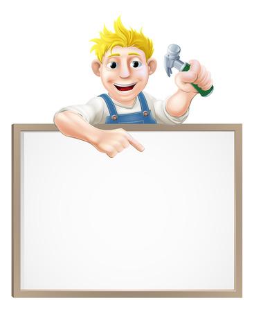 peeping: Un carpintero o constructor con un martillo de garra y que mira furtivamente sobre un signo y apuntando Vectores