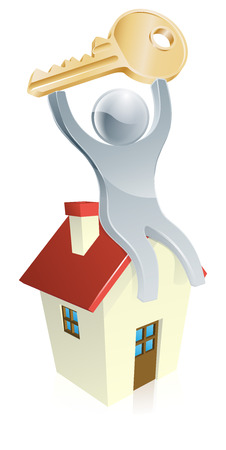 Illustration of happy silver mascot man sitting on a house with a house key in his hands. Real estate concept Vector