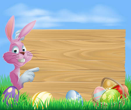 Pink Easter eggs bunny rabbit with chocolate painted Easter eggs and a blank wooden sign Vector