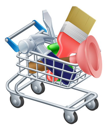 Tool trolley illustration of a shopping cart or trolley full of work tools Vector
