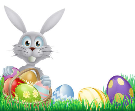 A cartoon white Easter bunny rabbit with a chocolate Easter eggs basket Vector