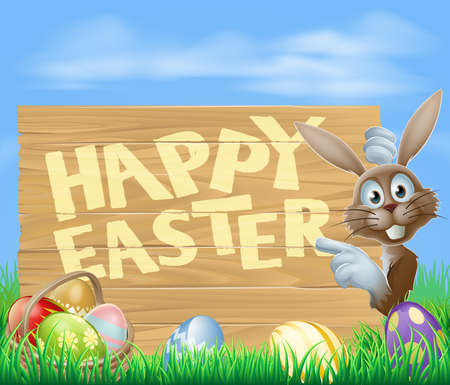 Happy Easter sign with Easter bunny pointing at the wooden sign with the message Happy Easter written on it. Chocolate eggs and basket in the foreground. Vector
