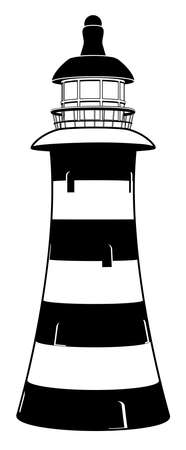 A lighthouse illustration in stylised black and white with stripes