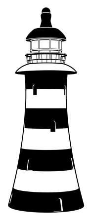 lighthouse at night: Una ilustraci�n del faro en estilizadas rayas blancas y negras con