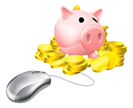Computer mouse connected to piggy bank with gold coins. Concept for online savings or investments Vector