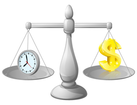 weighing scales: Time money balance scales, with a clock representing time on one side and Dollar sign on the other. Could represent work life balance or making best use of time, working smarter not harder. Illustration