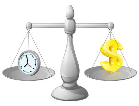 ungleichgewicht: Zeit ist Geld Balance Waagen, mit einer Uhr, die Zeit auf der einen Seite und Dollar-Zeichen auf der anderen. K�nnte Work Life Balance oder die optimale Nutzung von Zeit, intelligentere nicht h�rter arbeiten zu vertreten. Illustration