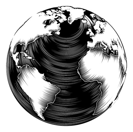 etched: Vintage world globe illustration in a retro woodblock style