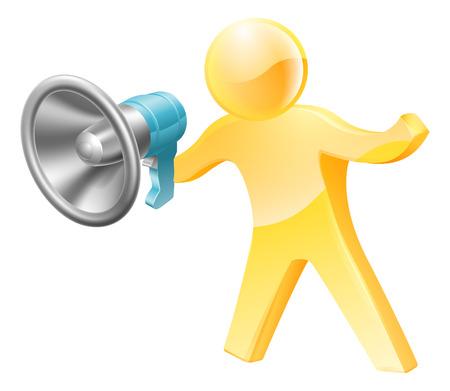 Gold person mascot megaphone concept. A person shouting down a megaphone or bullhorn.