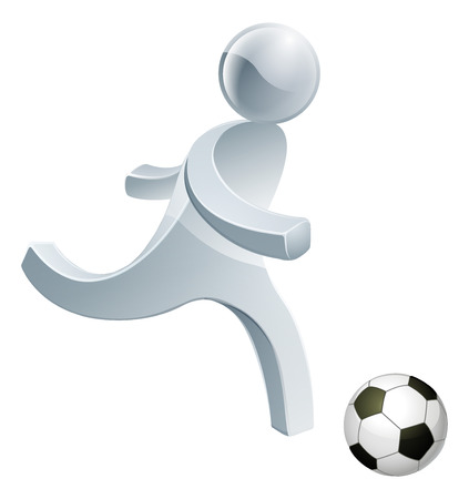Football soccer silver man about to kick a soccer ball really hard Vector