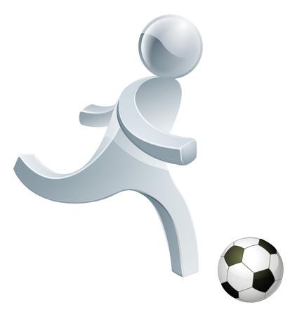 really: Football soccer silver man about to kick a soccer ball really hard