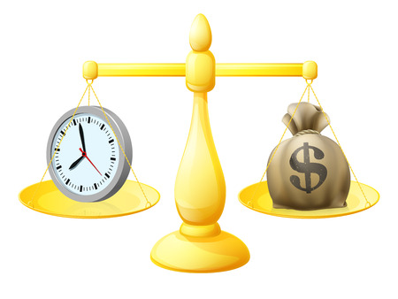 weighing scale: Time money balance scales concept illustration with a clock on one side and A sack of money with a dollar sign  on the other Illustration
