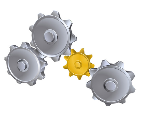 An illustration of metal machinery machine cogs or gears Vector