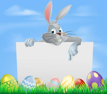 The Easter bunny pointing at a sign with Easter eggs background Vector