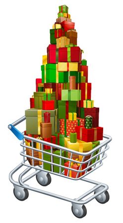 shopping trolley: Christmas gift shopping concept of a shopping trolley cart full of Christmas gifts  Illustration
