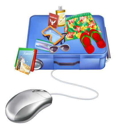 Vacation internet sale concept of a computer mouse and holiday items on a suitcase Illustration