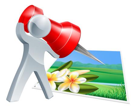 připínáček: Připnout ikonu fotografie, muž s velkým červeným pin nebo palcem připínáček připnout fotografie k něčemu Ilustrace