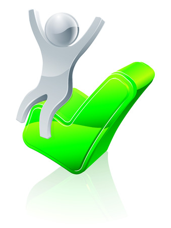A conceptual illustration of a happy person sitting on a green tick icon Vector