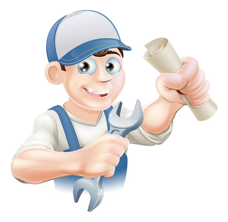 tradesman: Plumber or mechanic with certificate, qualification or other scroll and wrench. Education concept for being professionally qualified or certificated.