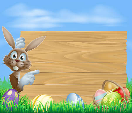 Easter bunny rabbit pointing at a sign with a basket of chocolate Easter eggs Vector